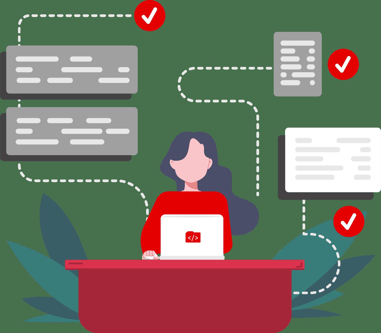 coderslink developer woman working remotely in her laptop receiving notifications