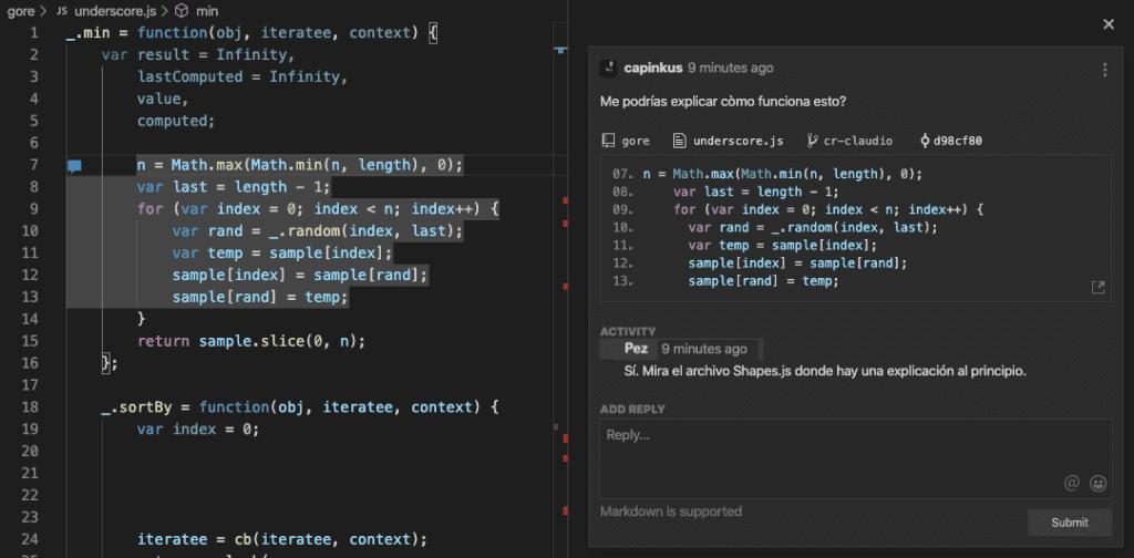 comentarios de codestream directo en IDE