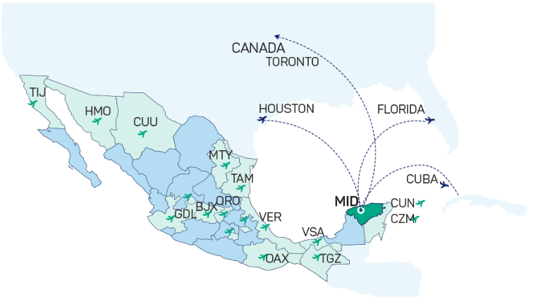 Merida has two non-stop routes to Miami and Houston in the United States