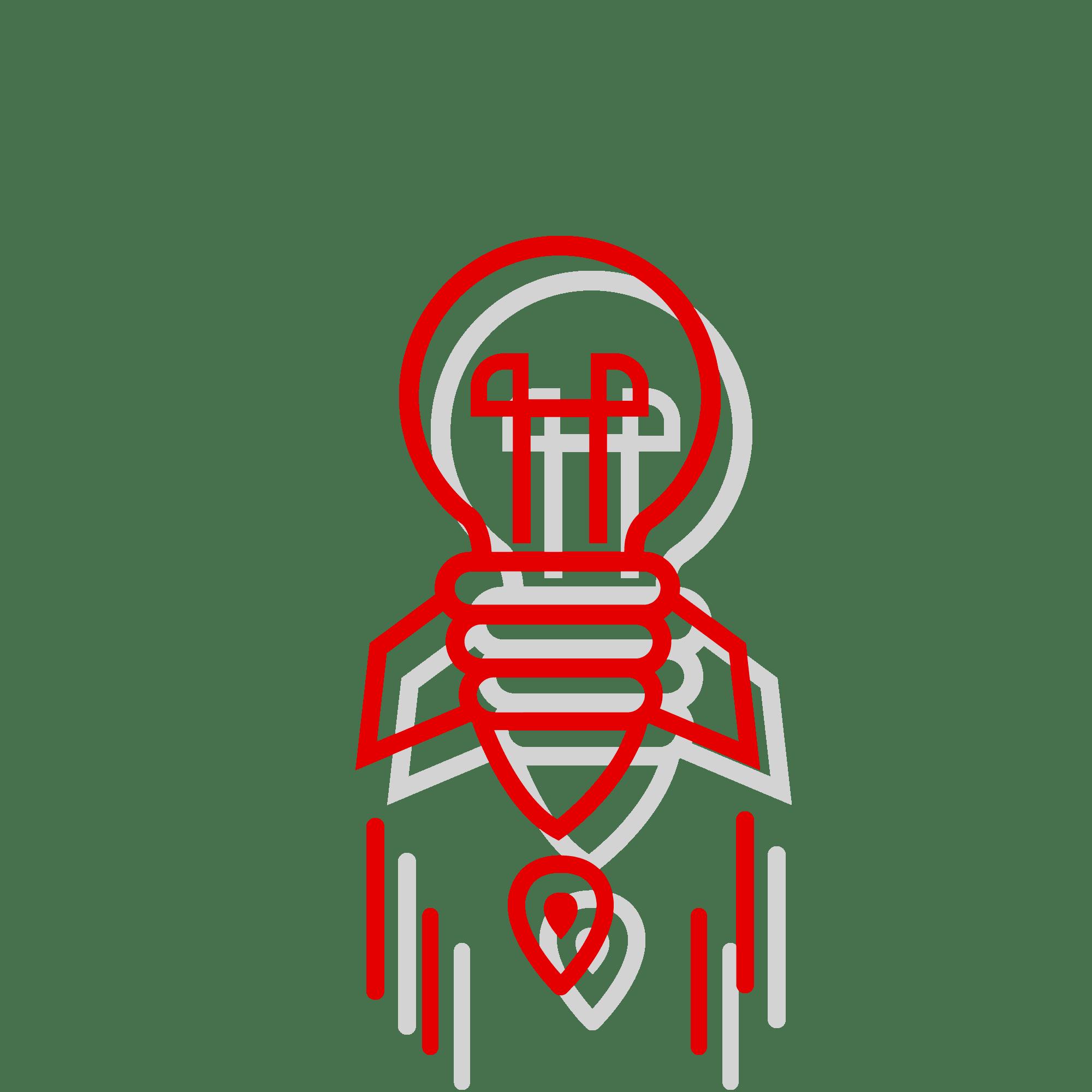 bulb rocket idea red icon