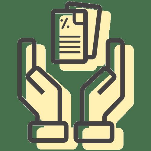 hands holding a cv illustration