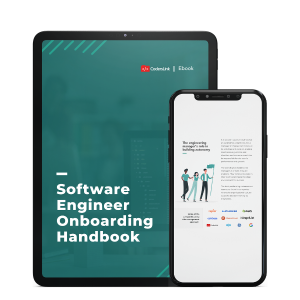 software engineer onboarding handbook cover and preview for tablet and phone