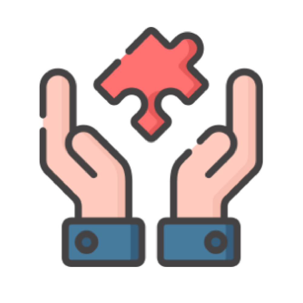 hands holding a puzzle piece icon