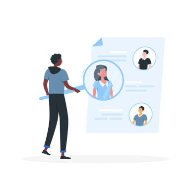 recruiter searching for specialized talent illustration