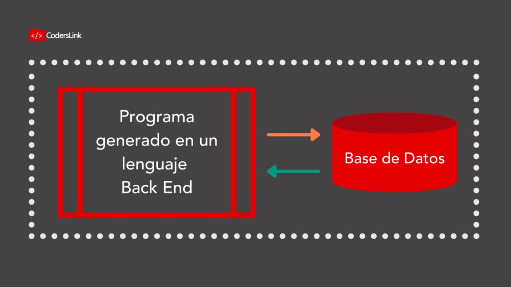 La data almacenada en la base es consultada por el programa de backend. Además, podríamos ingresar datos, modificarlos y hasta eliminarlos.
