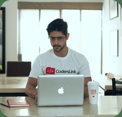 coderslink programmer working remotely on laptop