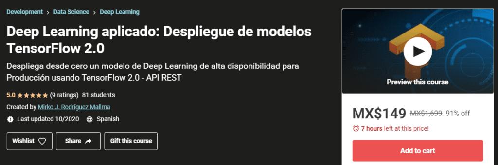 Deep Learning aplicado: Despliegue de modelos TensorFlow 2.0