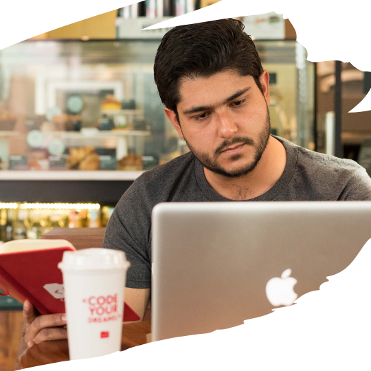 remote developer working from coffee shop