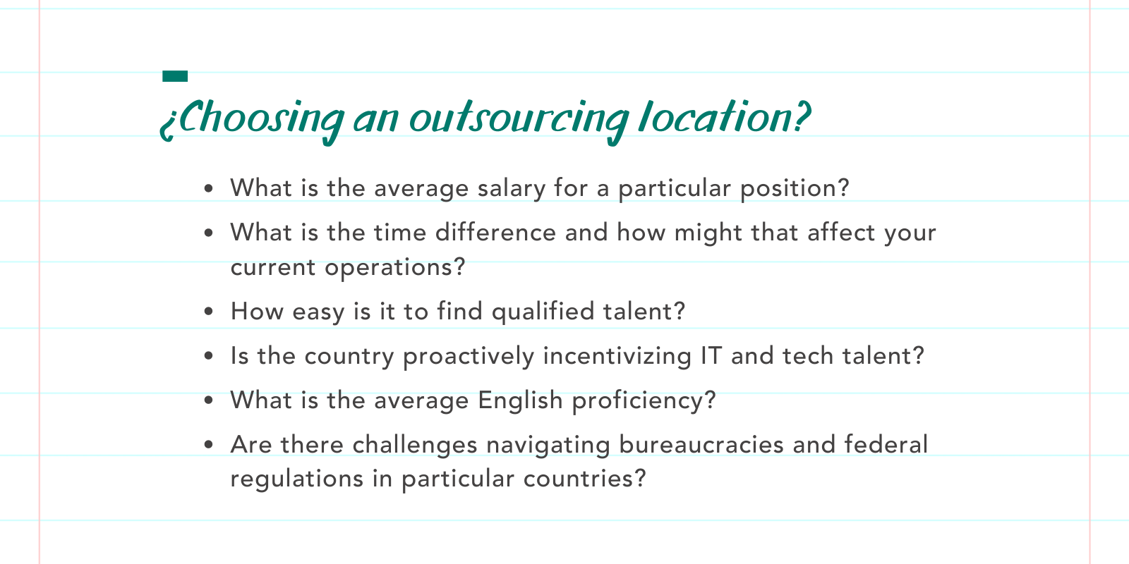 tech outsourcing checklist
